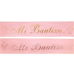 "3/8"" x 25 yards Pink Satin Ribbon with Mi Bautizo Colored Print"