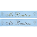 "7/8"" x 25 yards Blue Satin Ribbon with Mi Bautizo Colored Print"