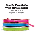"1/4"" x 50 yards Double Face Satin Ribbon with Gold Edge"