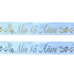 "3/8"" x 25 yards Blue Satin Ribbon with Mis 15 Anos Colored Print"