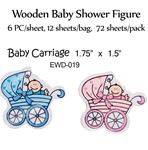 Baby in Baby Carriage Wooden Figure