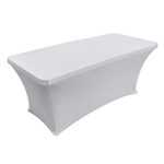 6 Feet Rectangular Spandex Table Cover White