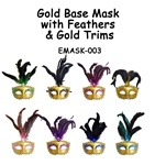 Gold Base Mask with Feathers & Gold Glitter