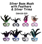 Silver Base Mask with Feathers & Silver Glitter