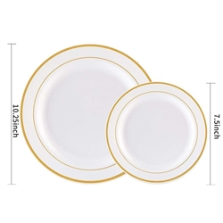 Plastics Plate with Gold/Silver Rim, 10.25""
