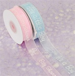 "7/8"" x 25 yards Colored Organza Ribbon with It's a Boy/It's a Girl White Print"