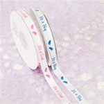 "3/8"" x 25 yards White Satin Ribbon with It's a Boy/It's a Girl Colored Print"