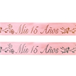 "7/8"" x 25 yards Pink Satin Ribbon with Mis 15 Anos Colored Print"