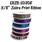 "3/8"" Satin Zebra Ribbon"