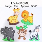 "5"" x 7"" Flat Foam  Animal - Large - Mixed Animals"