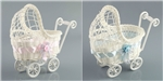 PLASTIC WICKER BABY CARRIAGE